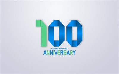 100th Anniversary sign, origami anniversary symbols, green blue origami digits, White background, origami numbers, 100th Anniversary, creative art, 100 Years Anniversary