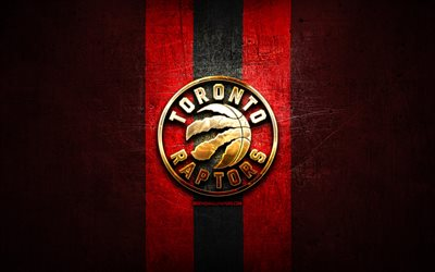 Toronto Raptors, golden logo, NBA, red metal background, american basketball club, Toronto Raptors logo, basketball, USA