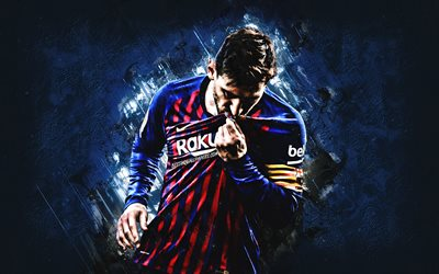 Lionel Messi, FC Barcelona, Argentinean footballer, portrait, blue stone background, La Liga, Spain, Catalonia, football, world football star