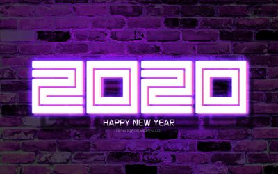2020 violet neon digits, 4k, Happy New Year 2020, violet brickwall, 2020 neon art, 2020 concepts, violet neon digits, 2020 on violet background, 2020 year digits