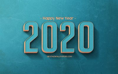 2020 Year concepts, blue retro background, blue letters, retro art, blue 2020 retro background, stone texture, 2020, creative art, Happy New Year 2020, concepts
