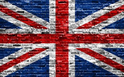 4k, United Kingdom flag, bricks texture, Europe, national symbols, Flag of United Kingdom, Union Jack, brickwall, United Kingdom 3D flag, UK flag, European countries, United Kingdom