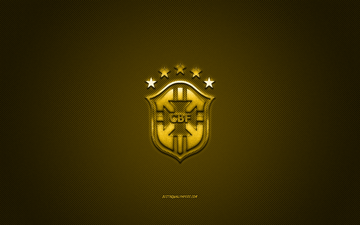 Brazil national football team, emblem, yellow logo, yellow carbon fiber background, Brazil football team logo, football, Brazil