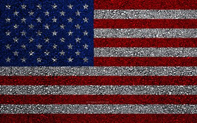 Flag of USA, asphalt texture, American flag, flag on asphalt, USA flag, North America, USA, flags of North America countries
