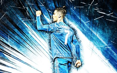 Cristiano Ronaldo, grunge art, back view, 4k, Juventus FC, CR7, blue uniform, portuguese footballers, blue abstract rays, Bianconeri, soccer, CR7 Juve, football stars, Serie A, Italy