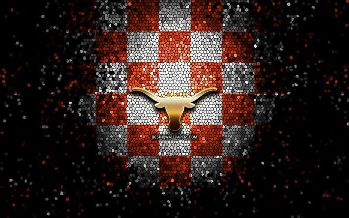 Download Wallpapers Texas Longhorns Glitter Logo Ncaa Orange White Checkered Background Usa American Football Team Texas Longhorns Logo Mosaic Art American Football America For Desktop Free Pictures For Desktop Free