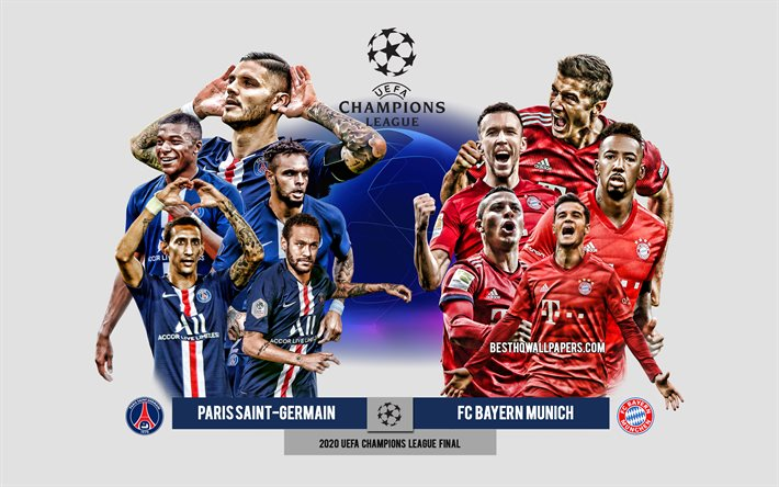 Download Wallpapers Paris Saint Germain Vs Fc Bayern Munich 2020 Uefa Champions League Final Preview Promotional Materials Football Players Champions League Football Match Psg Vs Fc Bayern Munich For Desktop Free Pictures For