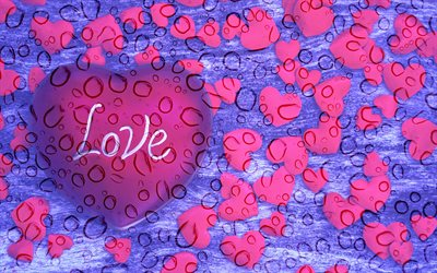pink hearts, abstract hearts background, water drops, hearts patterns, love concepts, violet hearts background, abstract art, background with hearts