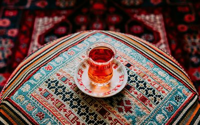 cup of tea, Turkish tea, cup of tea on a pillow, tea concepts, glass glass with tea