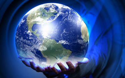 Earth in hand, Save Earth, hands, earth, continents, globe in hand, Protect the Earth