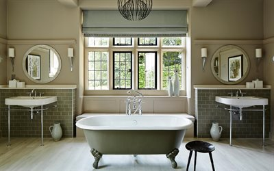 bathroom interior, classic style, round bathroom mirrors, stylish interior design, bathroom