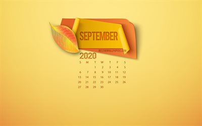 September 2020 Calendar, yellow background, 2020 autumn, September, autumn leaves, autumn concepts, 2020 calendars, autumn paper elements, 2020 September Calendar