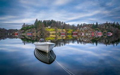 bay, wooden boat, evening, Egersund, Rogaland, Norway