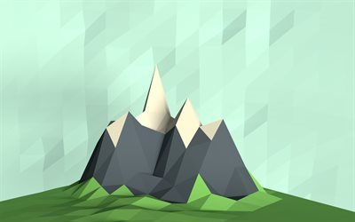 low poly mountain, abstract mountain, polygonal abstraction