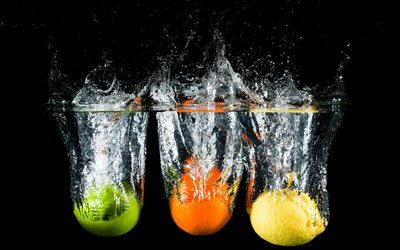 fruits in water, orange, lemon, lime, water