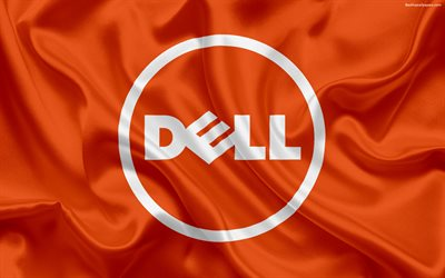 dell, blau, emblem, das dell-logo, orange-seide-flag