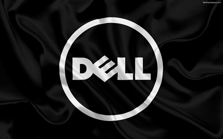 Download wallpapers Dell black silk background Dell logo emblem