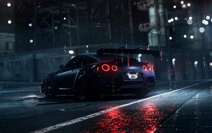Télécharger fonds d'écran La Nissan GT-R, la nuit, à la ...