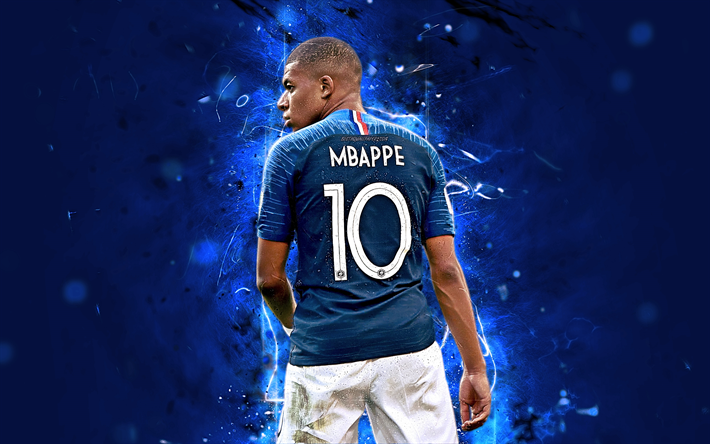 quality design 3596e bcbbd Download wallpapers Kylian Mbappe, back view, football stars ...