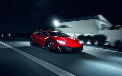 Lamborghini Huracan, 2018, Novitec Torado, red supercar, tuning, night, road, speed, new red Huracan, Italian sports cars, Lamborghini