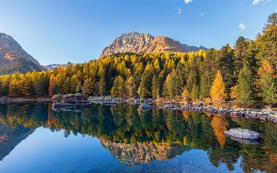 autumn landscape, lake, mountain landscape, autumn, mountains, USA