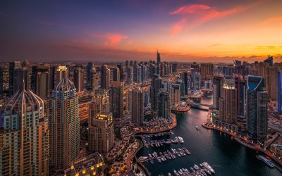 Dubai, evening, sunset, modern architecture, modern buildings, metropolis, UAE