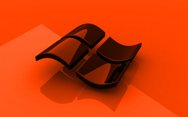 Windows orange logo, 3D art, OS, orange background, Windows 3D logo, Windows, creative, Windows logo