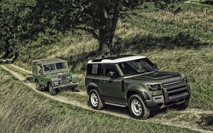 Land Rover Defender 90, 2020, exterior, green SUV, new green Defender 90, british cars, Land Rover