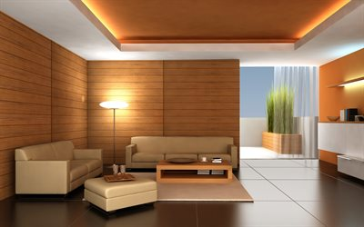 stylish living room interior, wood panels on the walls, living room project, loft style, modern interior design