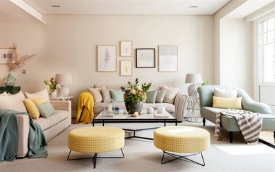 classic living room interior design, retro furniture, bright living room, yellow round chairs, stylish modern interior