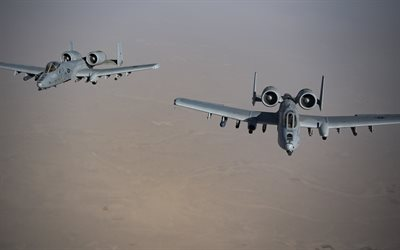 Fairchild Republic A-10 Thunderbolt II, American attack aircraft, military aircraft, US Air Force, A-10, USA