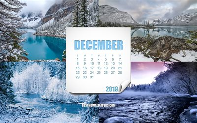 2019 December Calendar, winter, paper sheet, winter landscapes, December 2019 calendar, creative art