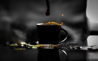 coffee, black cup with coffee, gray background, coffee concepts