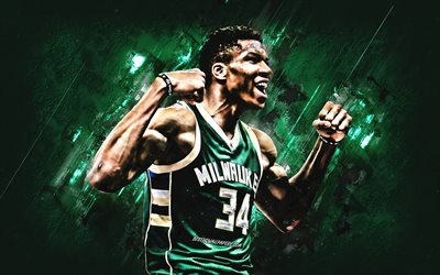 Giannis Antetokounmpo, Milwaukee Bucks, ritratto, greco, giocatore di basket, NBA, verde, creativa, basket, USA