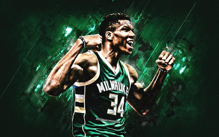 Download Wallpapers Giannis Antetokounmpo Milwaukee Bucks Portrait Greek Basketball Player Nba Green Creative Background Basketball Usa For Desktop Free Pictures For Desktop Free