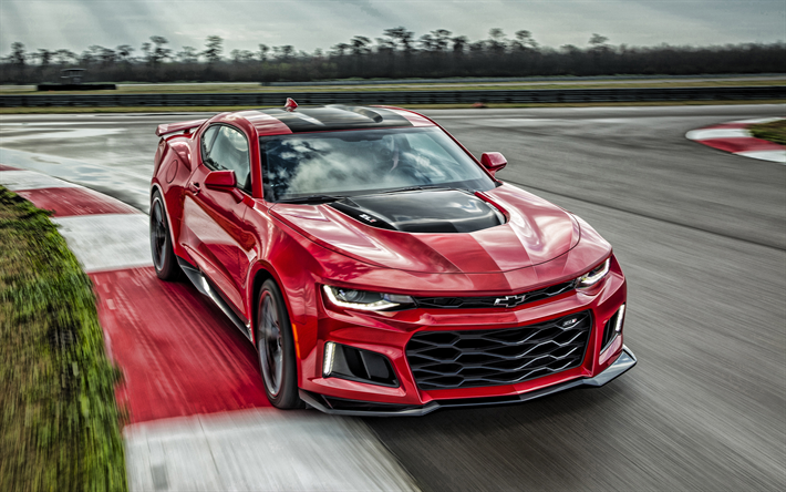 Chevrolet Camaro ZL1, 2019, exterior, red sports car, racing track, new red Camaro ZL1, american sports cars, Chevrolet