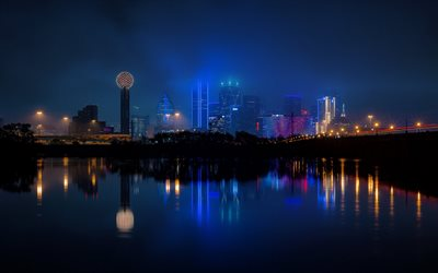 Dallas, night, city lights, city panorama, skyscrapers, fog, Dallas cityscape, Texas, USA