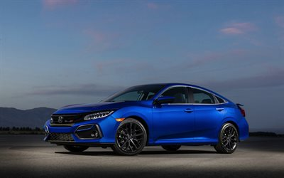 Honda Civic, 2019, sedan, exterior, front view, blue sedan, new blue Civic, japanese cars, Honda