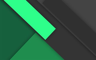 4k, material design, green and black, geometric shapes, lines, lollipop, geometry, creative, strips, green backgrounds, abstract art