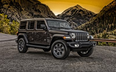 Jeep Wrangler, 2019, front view, black suv, new black Wrangler, american cars, Jeep