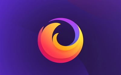 Mozilla Firefox flat logo, 4k, creative, violet background, Mozilla Firefox logo, artwork, Mozilla Firefox