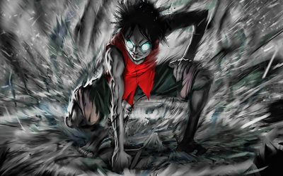 Monkey D Luffy, darkness, One Piece, artwork, manga, One Piece characters