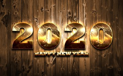 2020 golden digits, wooden background, Happy New Year 2020, creative, 2020 concepts, 2020 metal art, golden digits, 2020 on wooden background, 2020 year digits