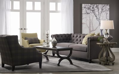 gray stylish interior, living room, classic style, gray sofa, classic furniture, modern interior design