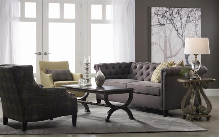 diseño clásico de sala de estar Descargar Fondos De Pantalla Gris Elegante Interior Sala De