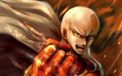 Saitama, manga, artwork, One-Punch Man, protagonist