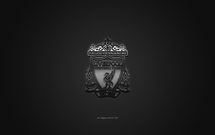 Liverpool FC, English football club, Premier League, silver logo, gray carbon fiber background, football, Liverpool, England, Liverpool FC logo