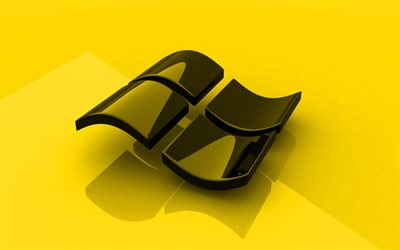 Windows yellow logo, 3D art, OS, yellow background, Windows 3D logo, Windows, creative, Windows logo