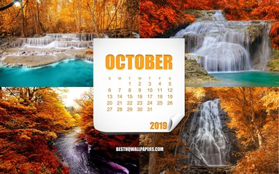 2019 October Calendar, autumn landscapes, autumn waterfall, calendar for 2019 October, autumn calendars