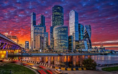Moscow City, sunset, skyscrapers, cityscapes, Russia, Moscow, russian cities, modern buildings, Moscow landmarks, HDR